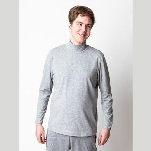 Miesten Pentti pusero pitkän paidan ompelukaava kauluksella
