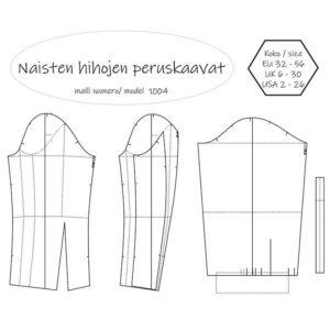 Naisten hihojen peruskaavat Müller & Sohn mittataulukon mukaan. Ompelukaava on saatavilla PDF-kaavana ja paperikaavana. Koko 32 34 36 38 40 42 44 46 48 50 52 54 56.