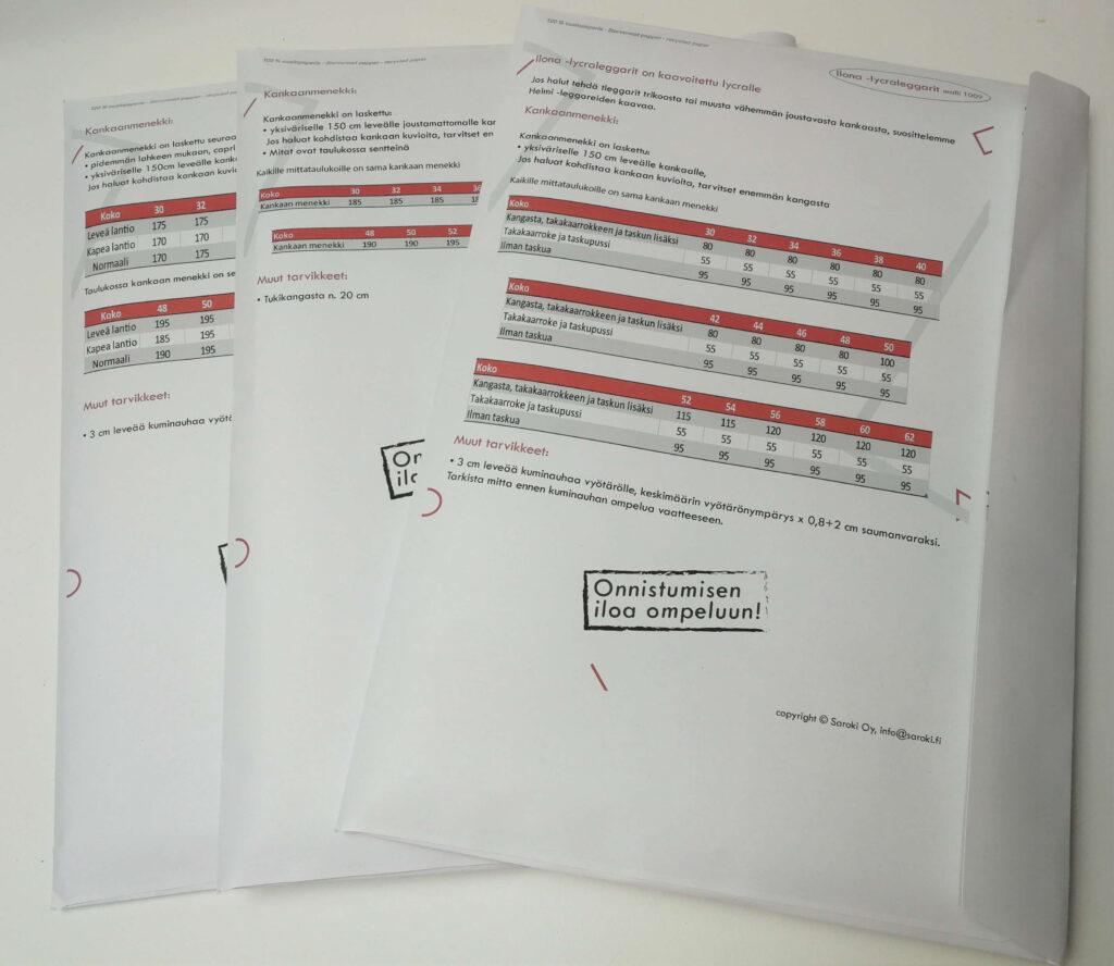 Paperiset ompelukaavat kirjekuoressa, jossa on ohjeet ja kankaanmenekki