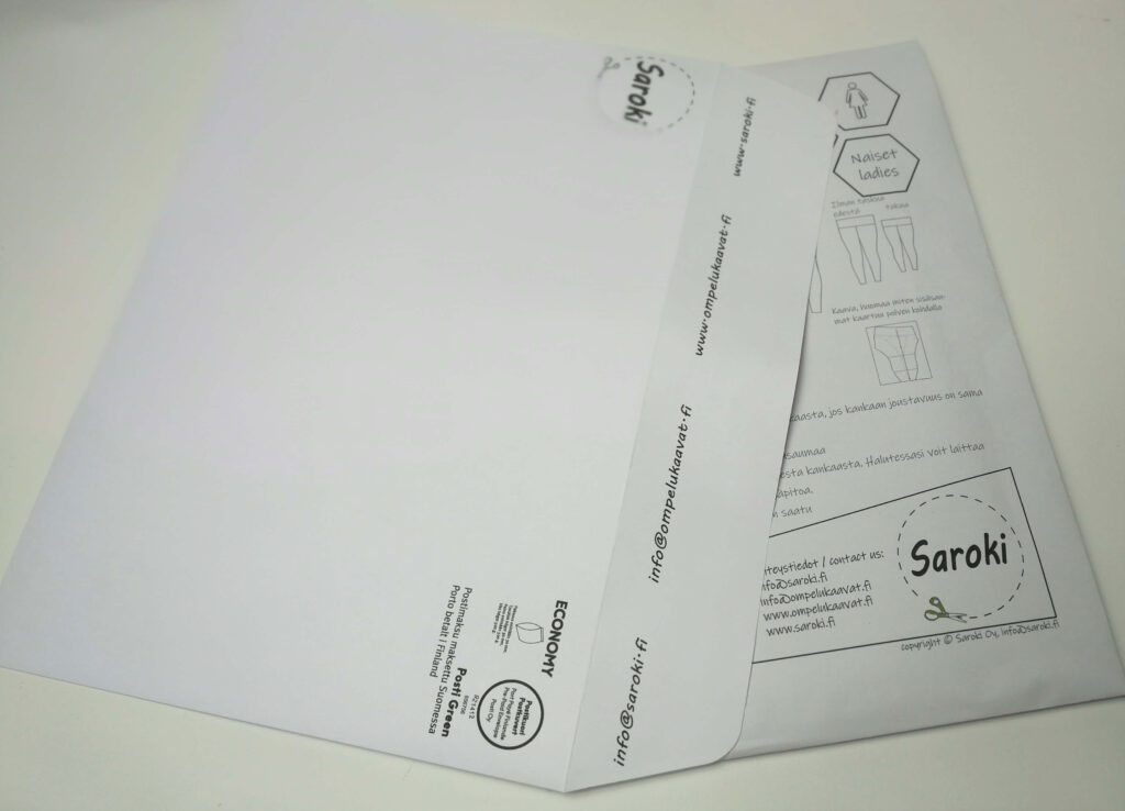 Paperiset ompelukaavat lähetetään postissa kirjekuoressa