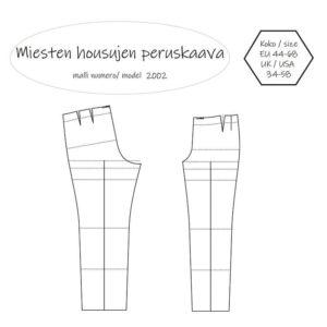 Miesten housujen peruskaava Müller & Sohn mittataulukon mukaan. Ompelukaava on saatavilla PDF kaavana ja paperikaavana. Koko 44 46 48 50 52 54 56 58 60 62 64 66 68.