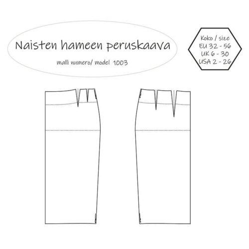 Naisten hameen peruskaava Müller & Sohn mittataulukon mukaan. Ompelukaava on saatavilla PDF kaavana ja paperikaavana. Koko 32 34 36 38 40 42 44 46 48 50 52 54 56.