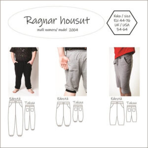 Miesten Ragnar housut ompelukaava joustavalle kankaalle esim. collegekankaalle. Koot 44-76. Hyvät perusverkkarit. Etutaskut, takataskut, Kaksi eri lahkeenpituutta, täyspitkät sekä shortsimitta, johon voi lisätä myös resorin. Täyspitkissä lahkeissa on reilusti pituutta ja nilkat eivät tule esille istuessakaan. Saatavana kolmessa mittataulukossa: normaali, pyylevä sekä vatsakas.