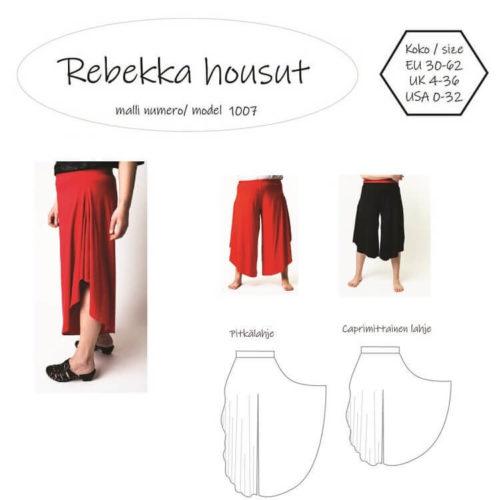 Naisten Rebekka housut ompelukaava esim. viskoosi- tai puuvillatrikoolle. Koot 30-62. Paljon väljyyttä lahkeissa, kaksi eri lahjepituutta: nilkka ja capri -pituus. Vyötäröllä kuminauha. Helppo malli ommeltavaksi.