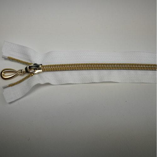 Valkoinen avo vetoketju 40 cm