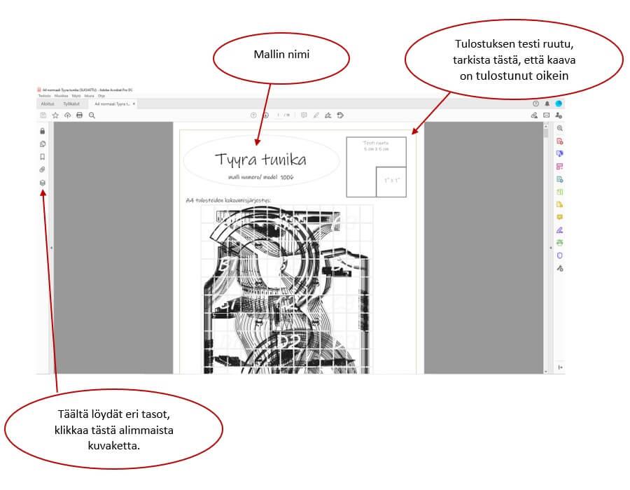 PDF ompelukaavojen tulostus