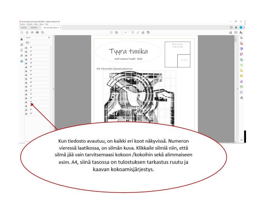 PDF ompelukaavojen eri koot on tasoilla