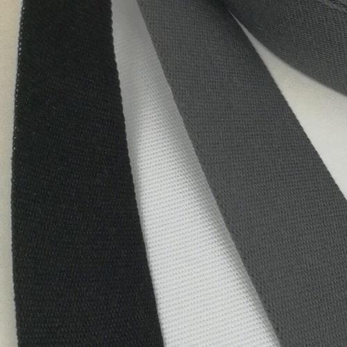 Edullinen kotimainen ripsinauha 20mm musta valkoinen ja harmaa