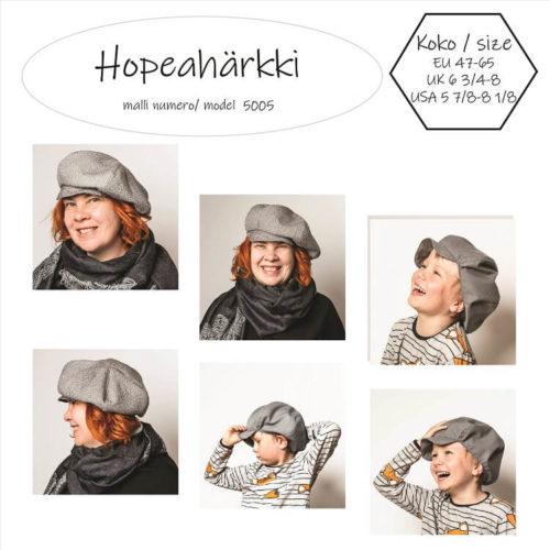 Hopeahärkki hattu ompelukaava on hattukaava aikuisille tai lapsille. Naisten hattu lipalla