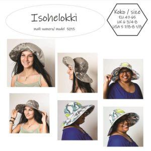 Isohelokki hattukaavassa on 12 cm leveä lieri, johon tarvitaan karkaasi. Kesähatun ompelukaavan kupuosa tehdään kuudesta osasta kolmiokaavalla. Lieri tuetaan muovikarkaasilla tai alumiinikarkaasilla.