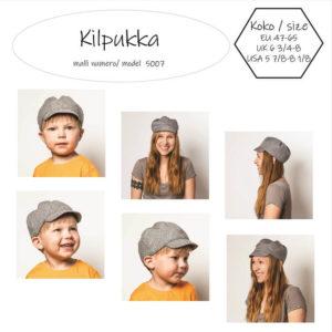 Kilpukka lippiksen ompelukaavassa on kupuosa, johon jää väljyyttä päänpäälle. Hattukaavassa on kolmiokaavat kuvulle ja lippa ommellaan kolmesta erikokoisesta kaavasta. Ompeluelämää hattujen kanssa.