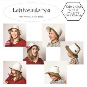 Lehtosinilatva hatun ompelukaavassa on kaitale, joka kiertää päänympäri. Siinä on ovaali päälaki ja 6 cm leveä lieri. Ompeluohjeet ja kaava