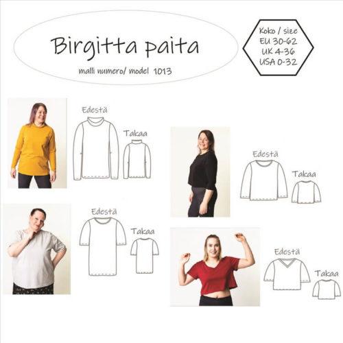 Naisten paidan ompelukaava, jossa on monta paidan kaavaa mukana