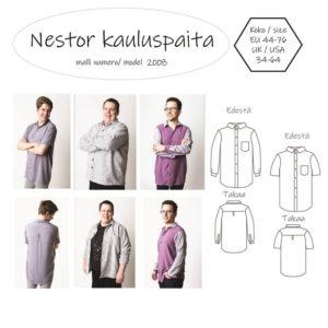 Miesten Nestor kauluspaita ompelukaava. Peruspaidan ompelu. Kuvallinen ohje