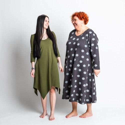 Rauha mekko kaava kaksi erilaista helmaa. Hiha kaava T-paita, 3/4 osainen sekä pitkä hiha