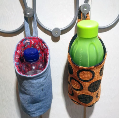 Säilytyspussukat kaavassa on kolme eri kokoa. Pienin on suunniteltu juomapullolle.