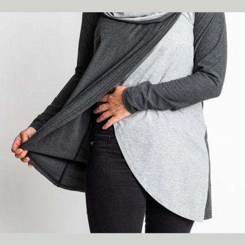 Sipri pusero ompelukaavassa on kaksiosainen etukappale ja suuri kaulus, jota voi käyttää myös huppuna Voit tehdä puseron kauluksella tai ilman. Pitkät hihat sekä 3/4 hihat ja rintamuotolaskokset