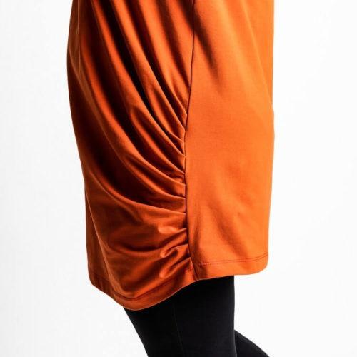 Saga puseron ompelukaavassa on sivusaumassa 11 kpl laskoksia