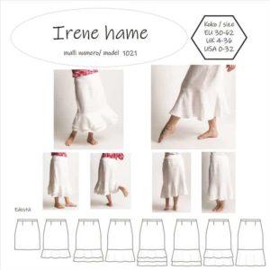 Irene hameessa on muotolaskokset sekä etu- ja takakappaleen vyötäröllä, vetoketju sivusaumassa ja 3 frillaa helmassa