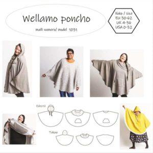 Wellamo ponchon kaavassa on mukana huppu ja suuri kaulus, jota voi käyttää myös huppuna. Tasku on keskellä edessä tai etukappaleen molemmille puolille. Voit tehdä taskun myös ponchon sisäpuolelle.