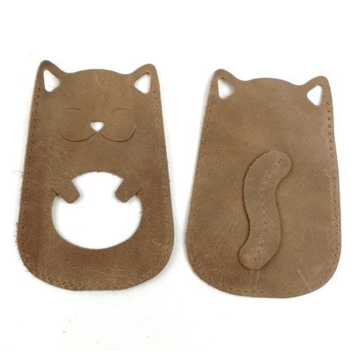 nahkainen korttikukkaro kissa