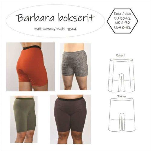 Barbara boksereiden ompelukaavassa on kaksi eri lahkeen pituutta ja erillinen haarakiila. Boksereissa ei ole keskietu eikä keskitaka saumaa, vaan saumat on etukappaleelle.