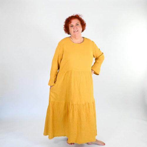 Lilli mekon ompelukaavassa on 2 erilaista pääntietä: kulmikas ja pyöreä sekä rintamuotolaskokset.